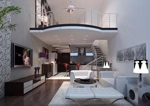 現代風格詳細的別墅客廳空間裝飾設計3d模型及效果圖