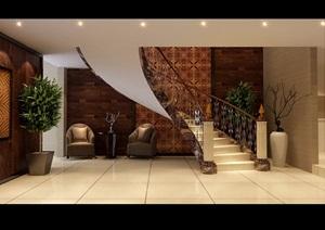 詳細的別墅空間客廳設計3d模型及效果圖