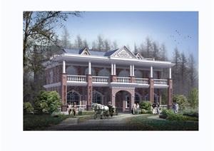 欧式整体双拼住宅别墅设计cad施工图