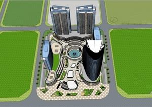 现代风格商业综合体+高层办公+公寓+酒店