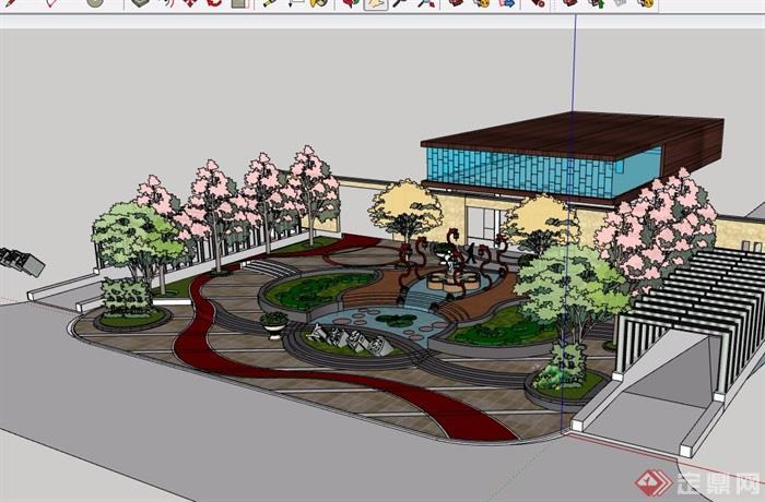 会所前景观详细设计su模型