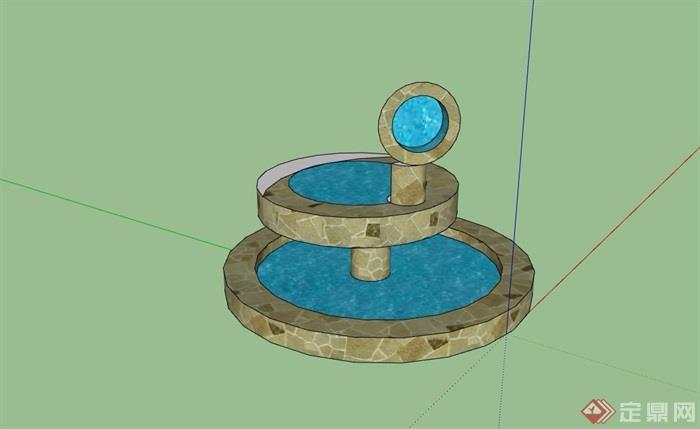 园林景观详细的水池景观素材设计su模型
