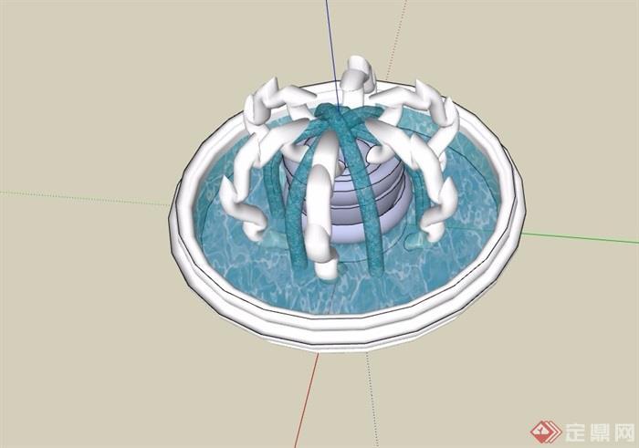 详细的完整喷泉水池设计su模型
