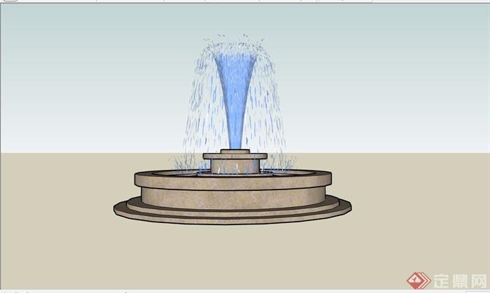 圆形详细的完整喷泉水池设计su模型