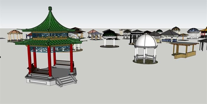 各种风格集合亭子素材设计su模型