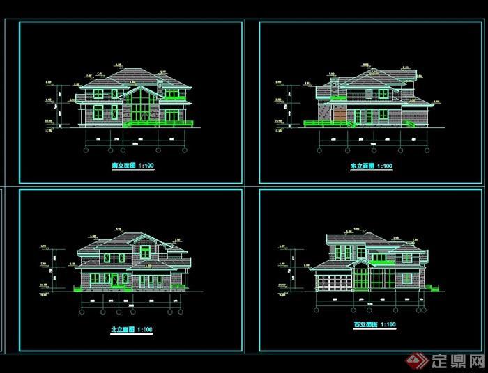 详细的完整两层风格住宅别墅设计cad方案