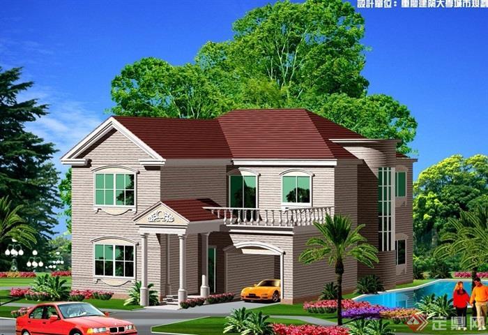 详细的完整两层欧式住宅别墅设计cad方案