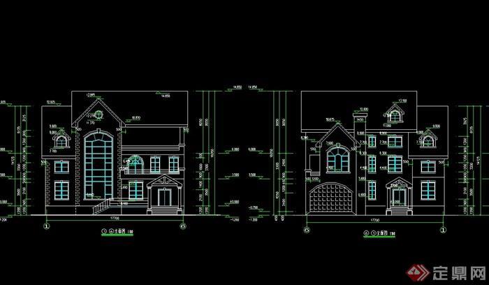 详细的欧式两层住宅别墅设计cad方案