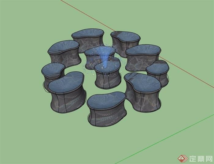 园林景观节点喷泉小品素材设计su模型