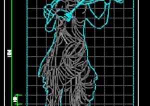 欧式人物雕塑及基座详图