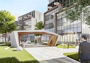 现代产业园 办公楼大厦SU(草图大师)模型