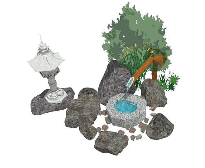 日式景观小品 庭院小品 石头 植物组合su模型(3)
