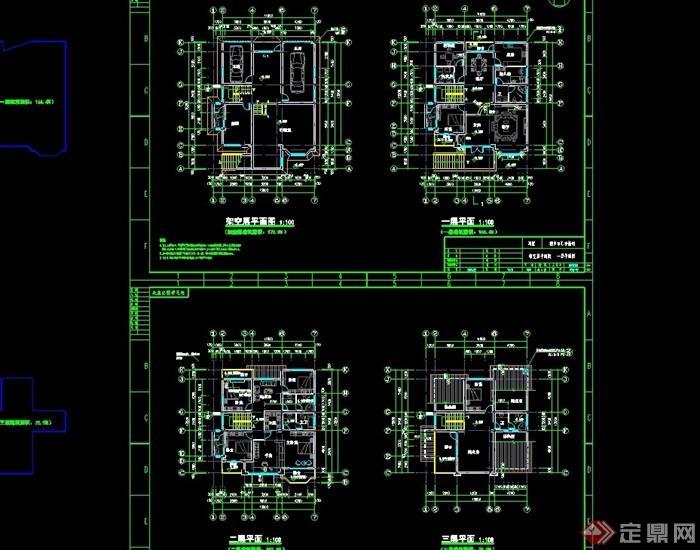 详细的欧式整体三层住宅别墅设计cad施工图