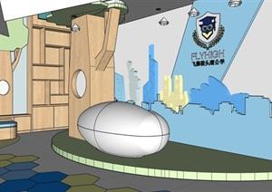現代兒童青少年教育空間設計SU(草圖大師)模型