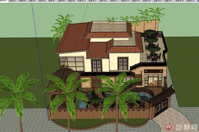 住宅欧式风格别墅建筑及庭院设计su模型