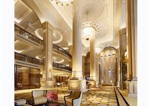 详细的完整欧式风格酒店室内装饰3d模型及效果图