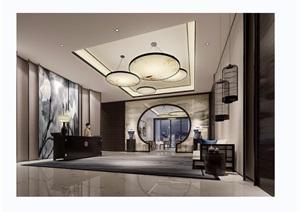 中式详细的酒店大厅空间装饰设计3d模型及效果图