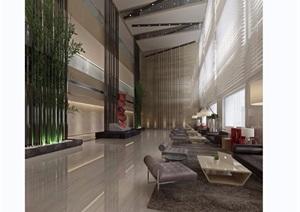 某现代详细的酒店大堂空间装饰设计3d模型及效果图