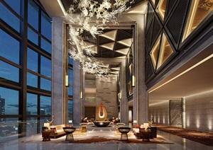 酒店完整详细的大堂空间装饰设计3d模型及效果图
