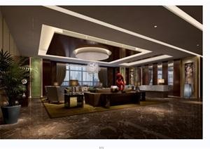 某现代风格工装接待厅室内装饰设计3d模型及效果图