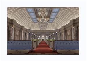 某详细的完整工装教堂室内装饰设计3d模型及效果图