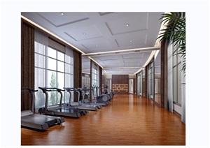 某健身房工裝室內3d模型及效果圖