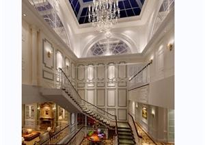 歐式風格詳細的別墅室內空間裝飾設計3d模型及效果圖