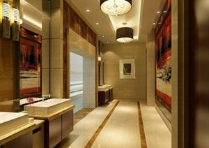 某详细的公共卫生间空间装饰设计3d模型及效果图