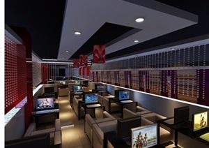 某独特详细整体工装网吧空间3d模型及效果图