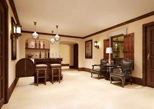 详细欧式风格工装室内走廊过道设计3d模型及效果图