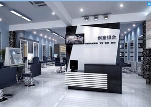 詳細工裝理發店室內裝飾3d模型及效果圖