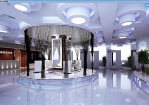 詳細工裝住宅詳細的完整室內美發店裝飾3d模型及效果圖