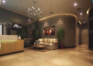 詳細工裝美發店室內詳細裝飾設計3d模型及效果圖