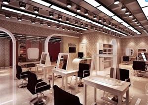 詳細完整的理發店工裝室內設計3d模型及效果圖