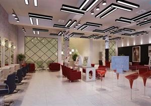 详细工装美发店室内装饰设计3d模型及效果图