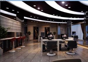 详细的整体完整工装美发店室内3d模型及效果图