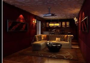 详细现代室内放映厅空间装饰3d模型及效果图