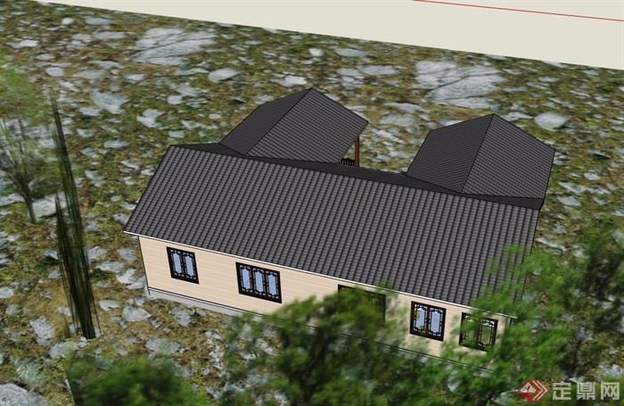 中式农村瓦房单层建筑设计3d模型及效果图