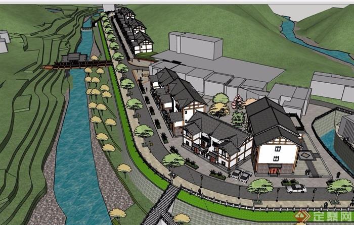 新农村住宅建筑规划SU模型