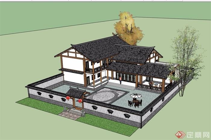 中式农村别墅合院详细建筑设计su模型