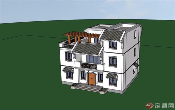 中式风格独栋别墅农村建筑别墅SU模型