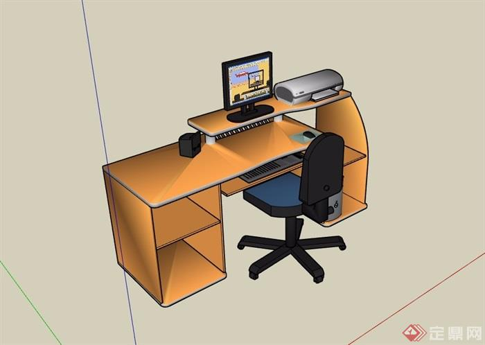 板式办公桌电脑桌椅SU模型