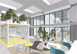 现代办公室完整空间装饰设计3d模型及效果图