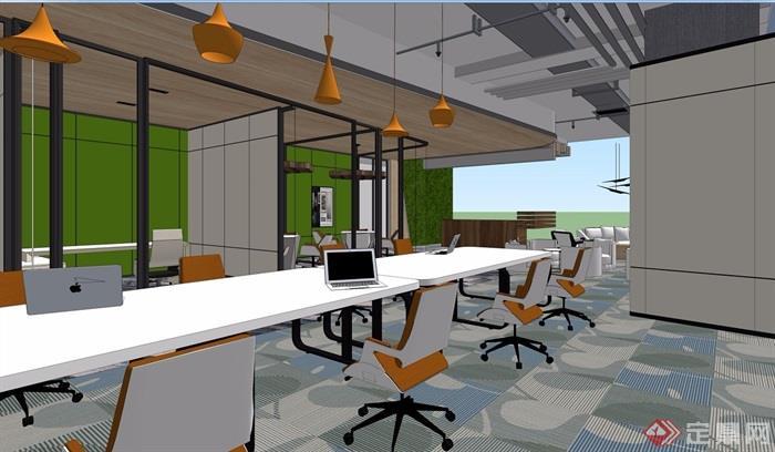 现代精致办公室完整装饰设计3d模型及效果图