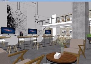 简约现代办公室空间装饰3d模型及效果图