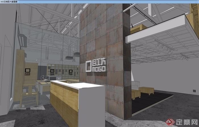现代工业风办公室设计su模型
