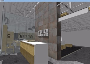 现代工业风办公室设计SU(草图大师)模型