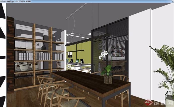 现代办公室完整室内空间装饰设计3d模型及效果图