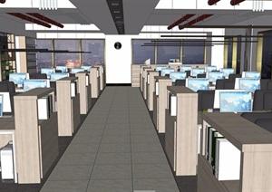 某整体详细的完整办公室装饰SU(草图大师)模型
