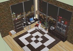 现代室内简单办公室室内SU(草图大师)模型